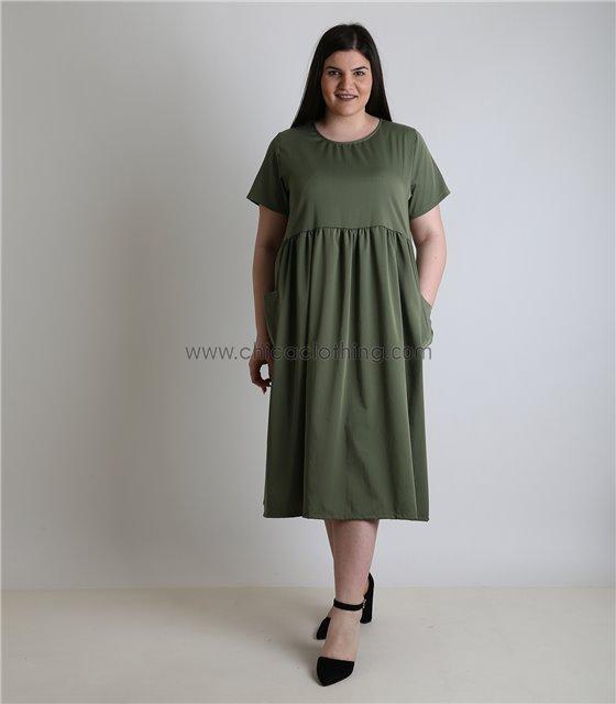 Φόρεμα σατέν κοντομάνικο με τσέπες (Χακί)