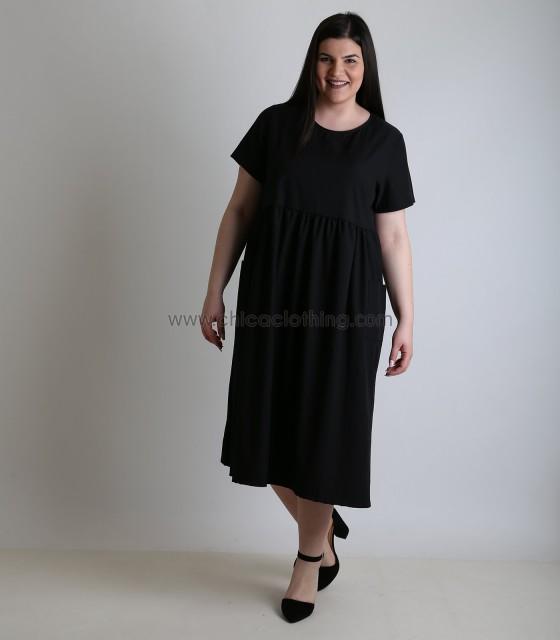 Φόρεμα σατέν κοντομάνικο με τσέπες (Μαύρο)