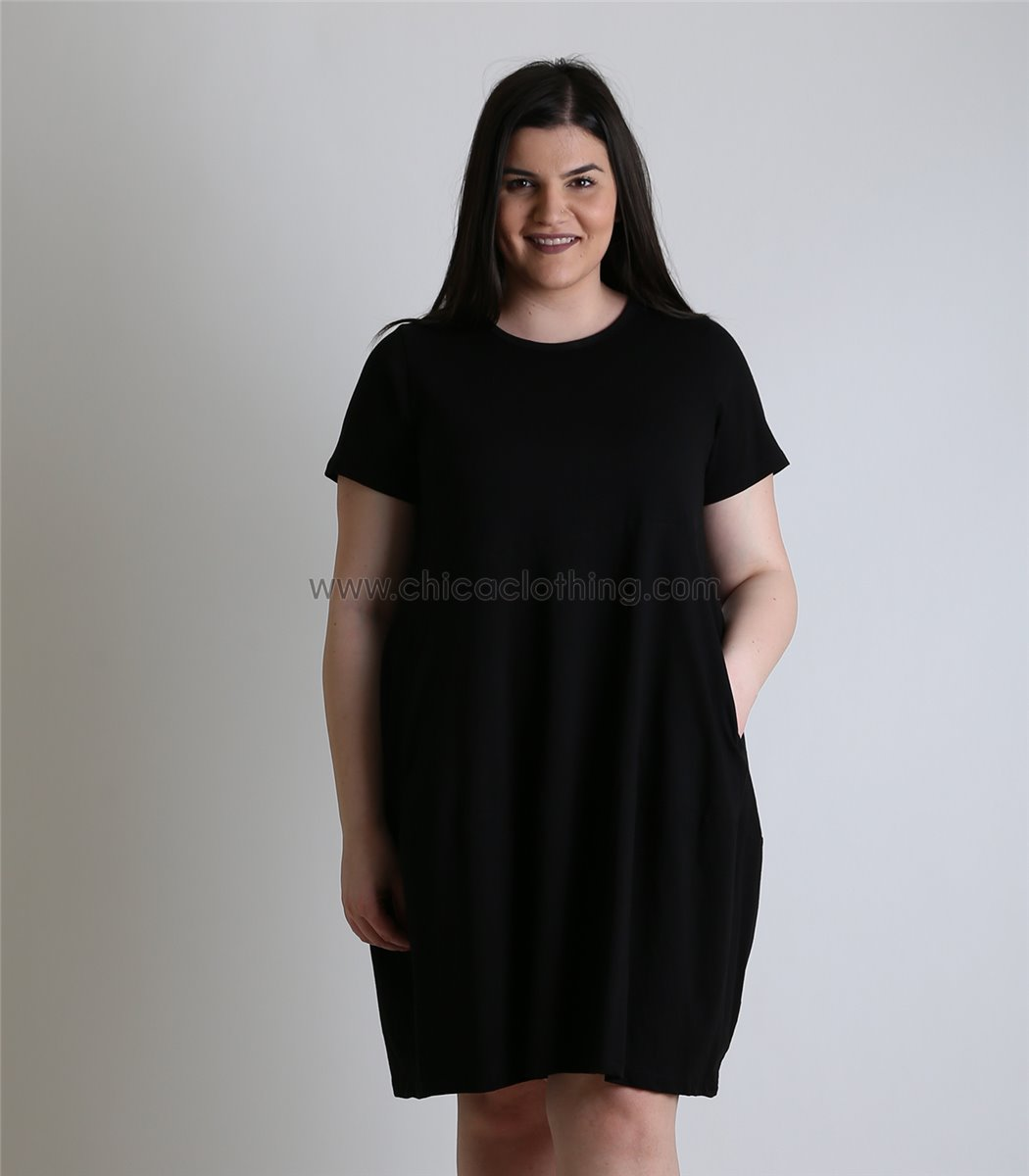85256d382f90 Γυναικείο φόρεμα viscose φαρδύ με τσέπες (Μαύρο)