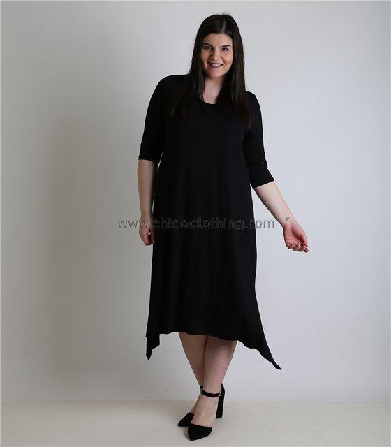 Φόρεμα κοντομάνικο με μύτες (Μαύρο)