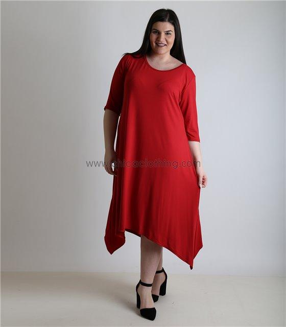 Φόρεμα με 3/4 μανίκι και μύτες (Κόκκινο)