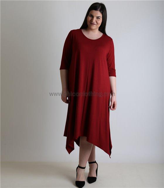 Φόρεμα με 3/4 μανίκι και μύτες (Μπορντό)