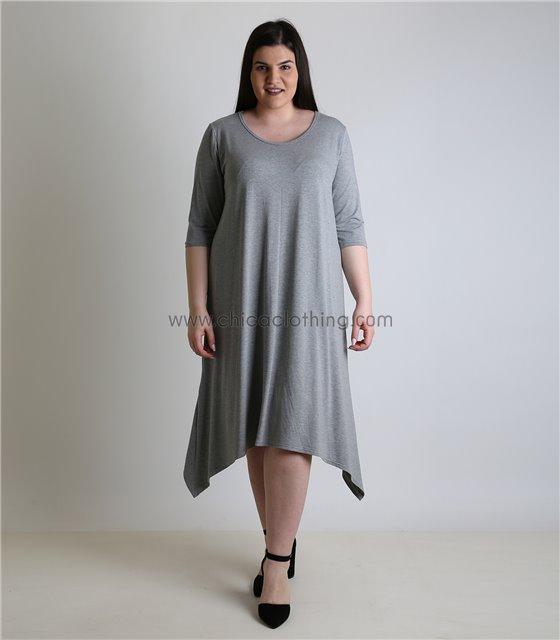 Φόρεμα με 3/4 μανίκι και μύτες (Γκρι)