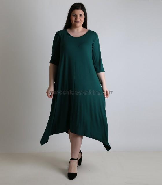 Φόρεμα κοντομάνικο με μύτες (Πράσινο)