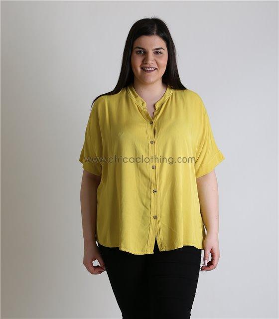 Μπλούζα με κουμπιά (Κίτρινο)