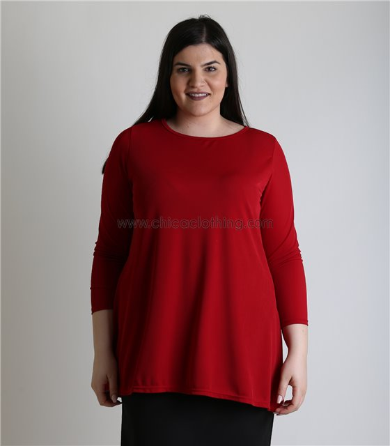 Μπλούζα oversized με ανοίγματα στο πλάι (Μπορντό)