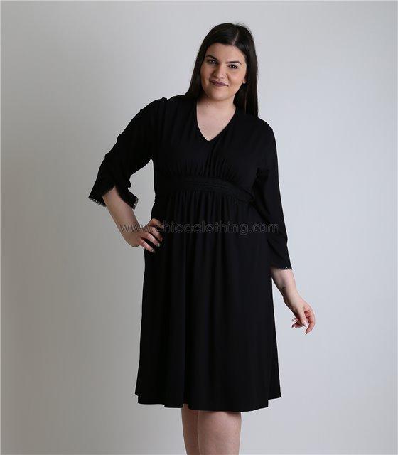 38f680b7ee08 Φόρεμα με ενσωματωμένη ζώνη και λεπτομέρεια δαντέλα (Μαύρο) ...