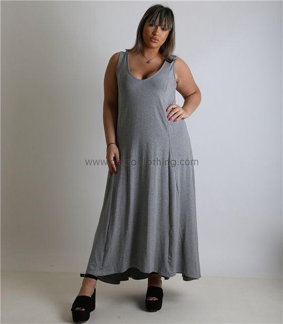 Φόρεμα με τιράντες και λωρίδα στο πίσω μέρος (Γκρι)