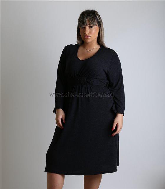Φόρεμα με κεντητές λεπτομέρειες και ενσωματωμένη ζώνη (Σκούρο γκρι)