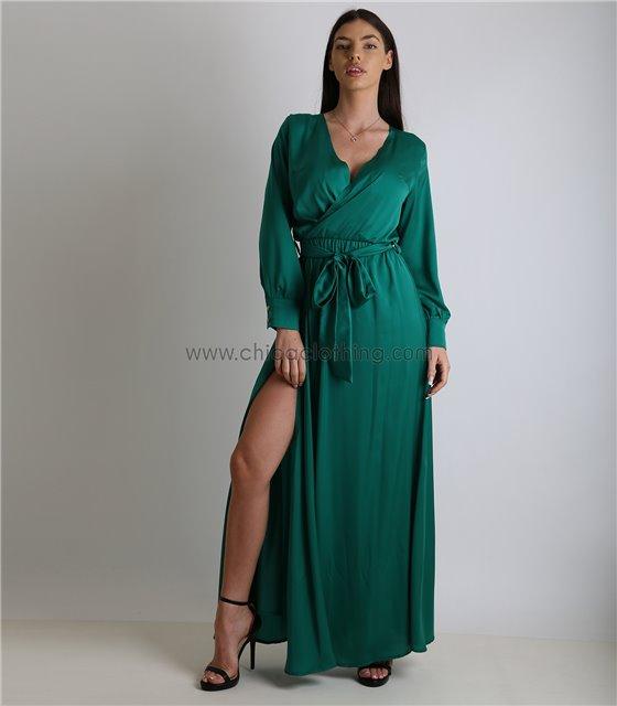 Μάξι φόρεμα κρουαζέ σατέν με ζώνη (Βεραμάν)