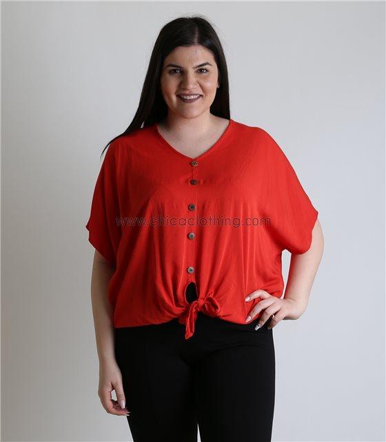 Μπλούζα με δέσιμο και κουμπιά (Κόκκινο)