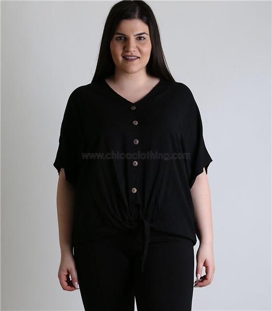 Μπλούζα με δέσιμο και κουμπιά (Μαύρο)