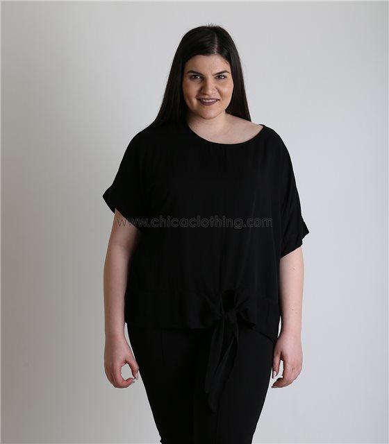 Μαύρη μπλούζα με δέσιμο oversized