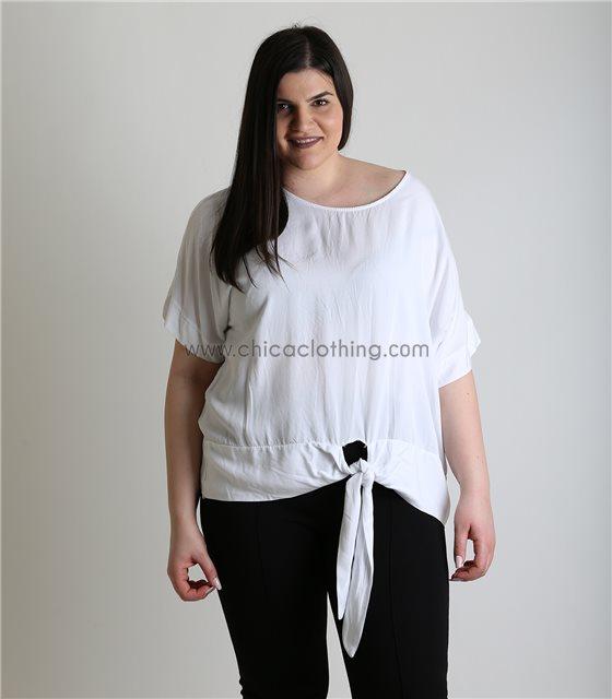 Λευκή μπλούζα με δέσιμο oversized