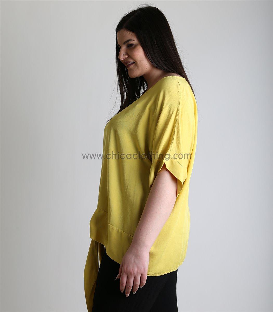 aff121c4bd4c Γυναικεία κίτρινη μπλούζα με δέσιμο oversized