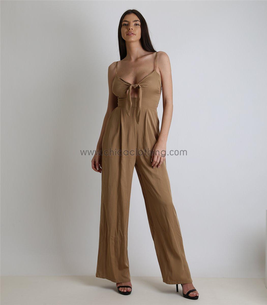 79c8ee028497 Γυναικεία ολόσωμη φόρμα με δέσιμο στο στήθος και επένδυση (Μπεζ)