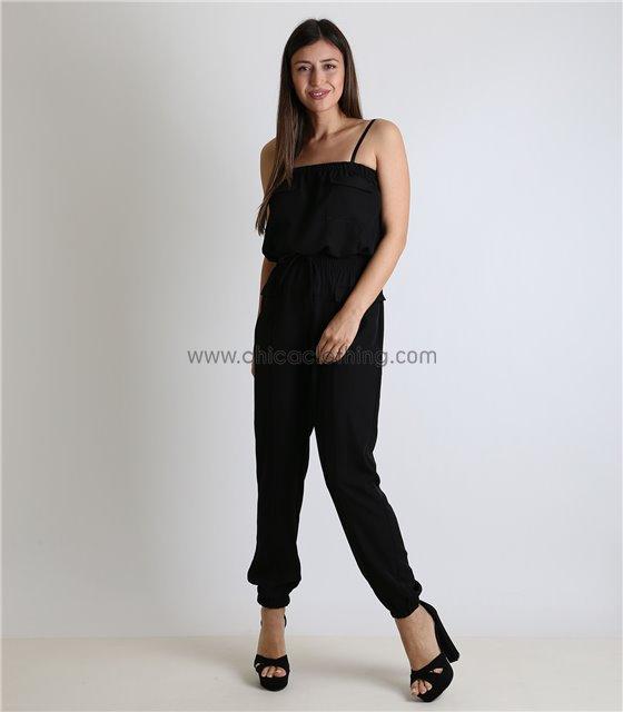 Ολόσωμη φόρμα με σούρα και τσέπες (Μαύρο)