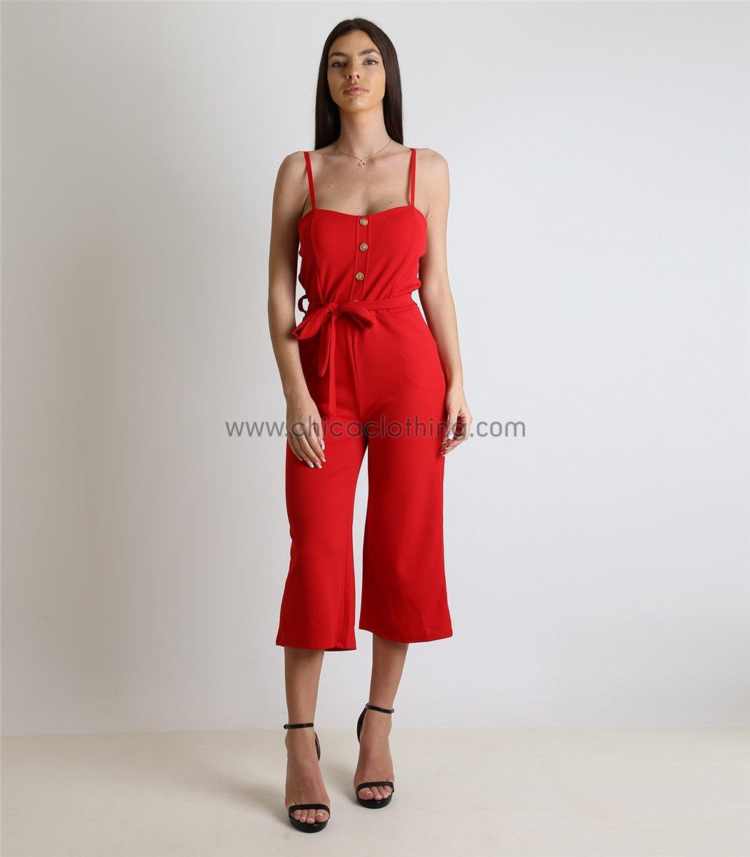 91be2e9783b0 Γυναικεία ολόσωμη φόρμα με κουμπιά και ζώνη (Κόκκινο)