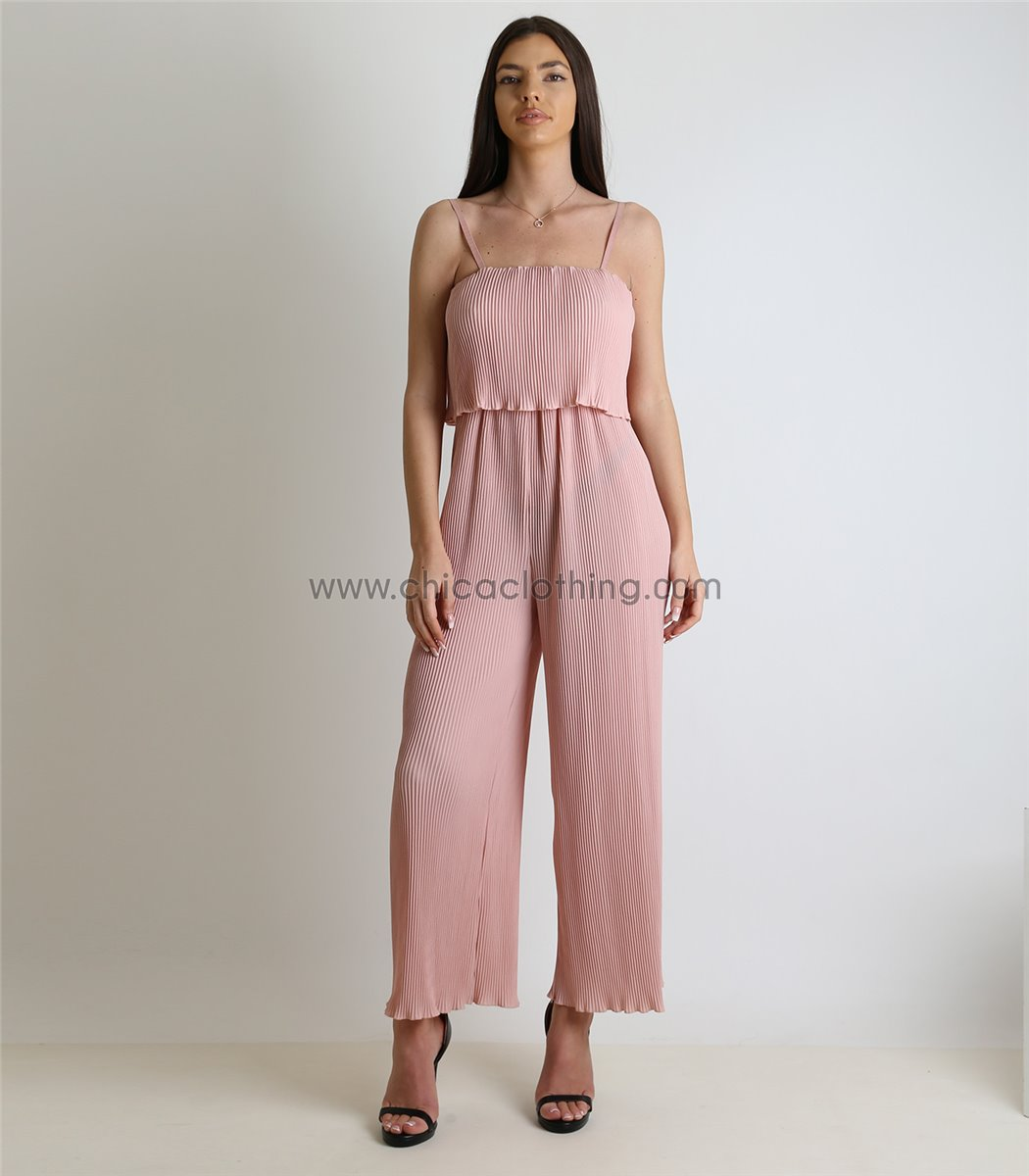 dccc28904870 Γυναικεία ολόσωμη φόρμα πλισέ με ρυθμιζόμενες τιράντες (Ροζ)