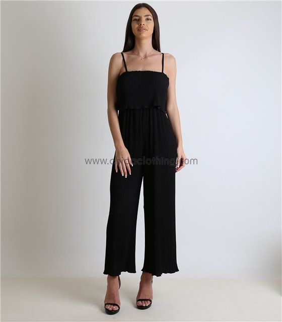 Ολόσωμη φόρμα πλισέ με ρυθμιζόμενες τιράντες (Μαύρο)