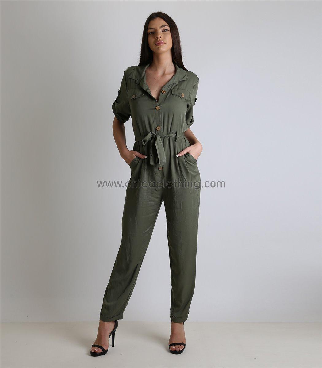 6a2eb9199c Γυναικεία ολόσωμη φόρμα με πατ μανικιών και κουμπιά (Χακί)