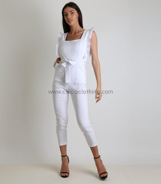 Ολόσωμη φόρμα με βολάν και ζώνη (Λευκό)