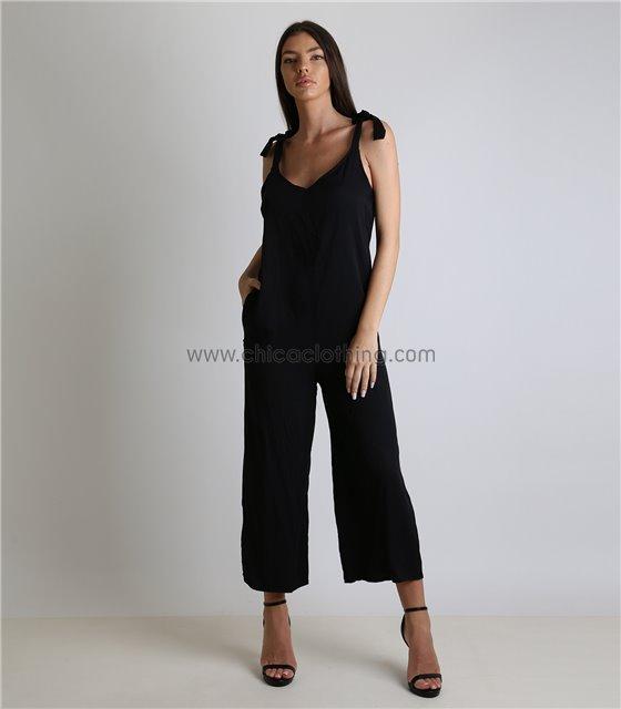Ολόσωμη φόρμα με δέσιμο στους ώμους oversized (Μαύρο)