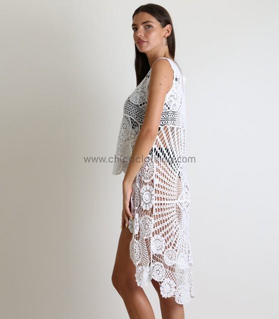 Πλεκτή αμάνικη μπλούζα (Λευκό)