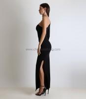 Φόρεμα μαύρο μακρύ με ενα μανίκι