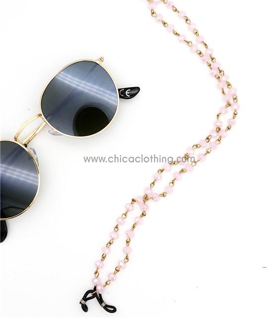 Αλυσίδα γυαλιών με χάντρες (Ροζ)