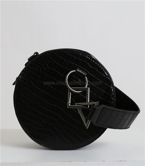 Στρόγγυλη τσάντα δερματίνη με σχέδιο κρόκο (Μαύρο)