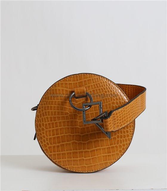 Στρόγγυλη τσάντα δερματίνη με σχέδιο κρόκο (Κίτρινο)
