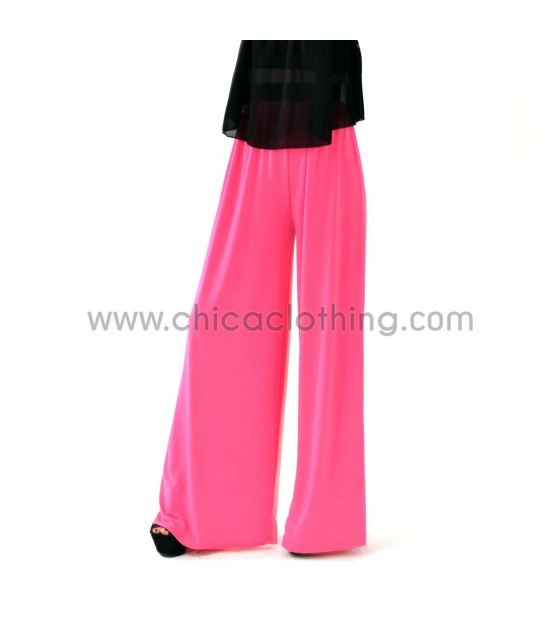 Παντελόνα φούξια φαρδιά ελαστική ψηλόμεση