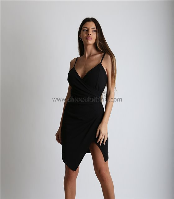 Φόρεμα μίνι τιράντα με κρυφό φερμουάρ (Μαύρο)