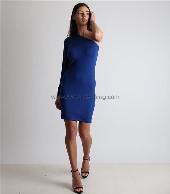 Μπλε μίνι φόρεμα με ένα μανίκι