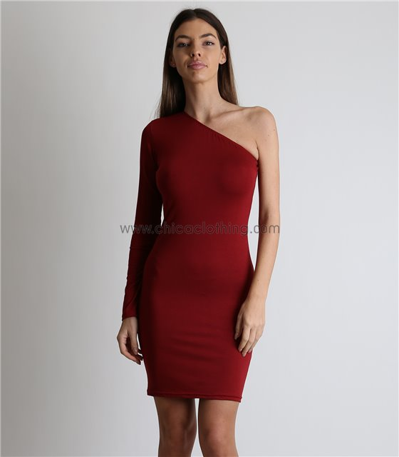 Μπορντό μίνι φόρεμα με ένα μανίκι