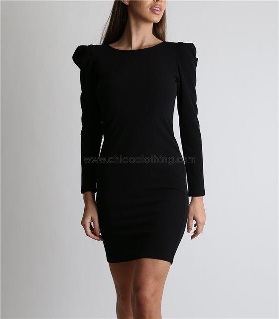 Φόρεμα μίνι με φουσκωτά μανίκια και φερμουάρ (Μαύρο)