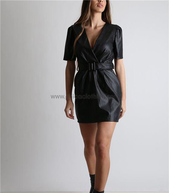 Φόρεμα δερματίνη με κρυφό φερμουάρ και ζώνη (Μαύρο)