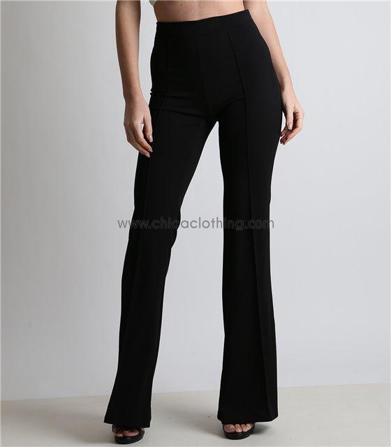 Ψηλόμεσο παντελόνι καμπάνα με τσάκιση μαυρο