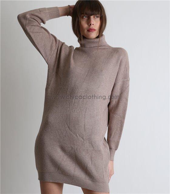 Πλεκτό φόρεμα ζιβάγκο μακρυμάνικο (Μπεζ)