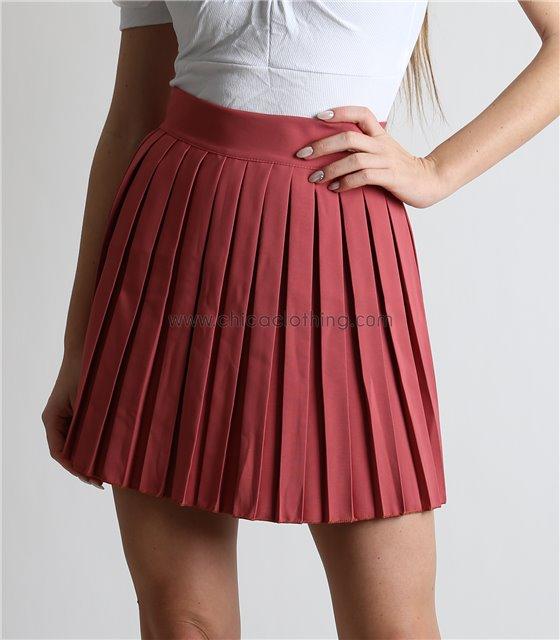 Φούστα πλισέ μίνι με κρυφό φερμουάρ (Ροζ)
