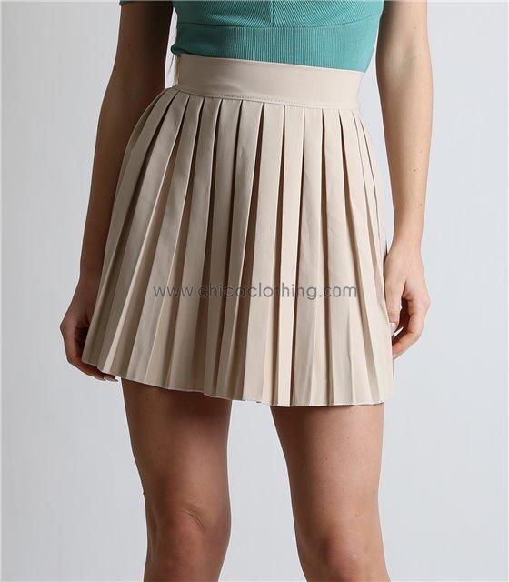 Φούστα πλισέ μίνι με κρυφό φερμουάρ (Μπεζ)
