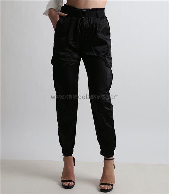 Παντελόνι σατέν cargo ψηλόμεσο με ζώνη (Μαύρο)