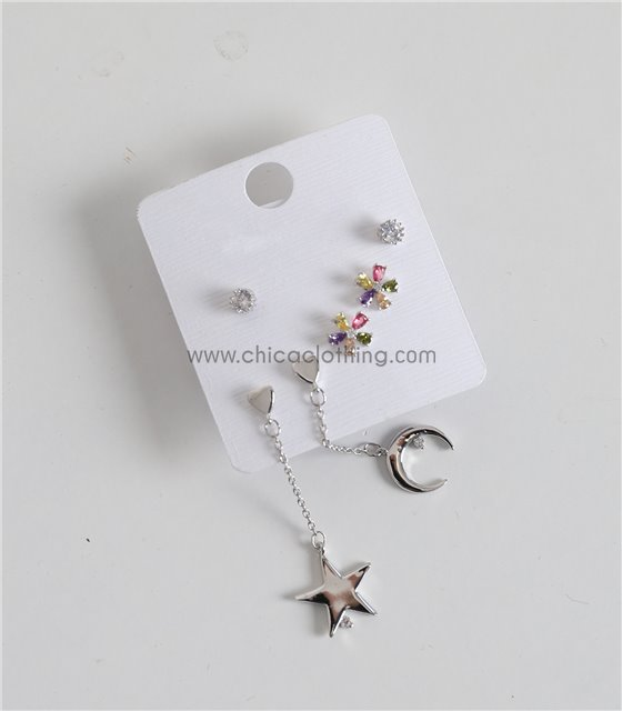 Σετ σκουλαρίκια ασημί στρας - λουλούδι - αστέρι - φεγγάρι (3 ζεύγη)