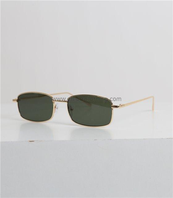 Γυαλιά ηλίου οβάλ με πράσινο φακό και χρυσό σκελετό