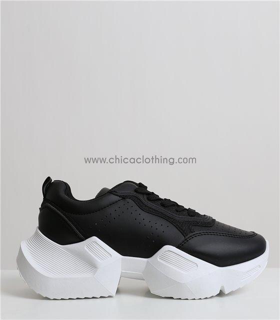 Sneakers δίπατο με χοντρό πάτο (Μαύρο)