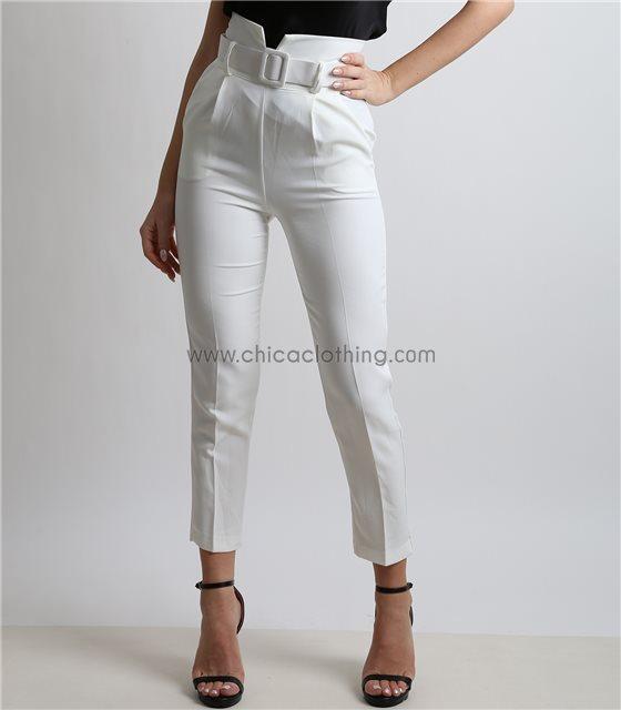 Ψηλόμεσο παντελόνι με ζώνη και κρυφό φερμουάρ (Λευκό)
