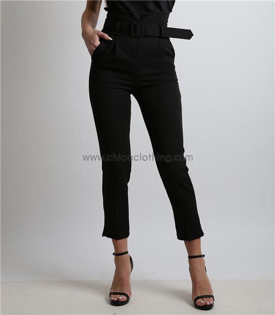 Ψηλόμεσο παντελόνι με ζώνη και κρυφό φερμουάρ (Μαύρο)