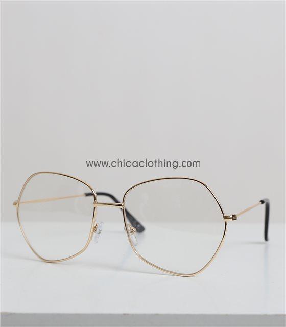Χρυσά μεταλλικά πολύγωνα γυαλιά με διαφανές φακό