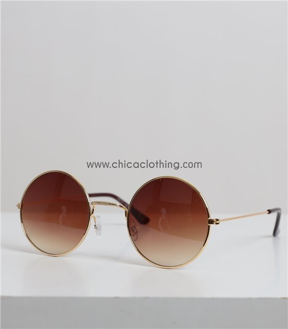 Στρόγγυλα γυαλιά ηλίου με χρυσό σκελετό (Καφέ)